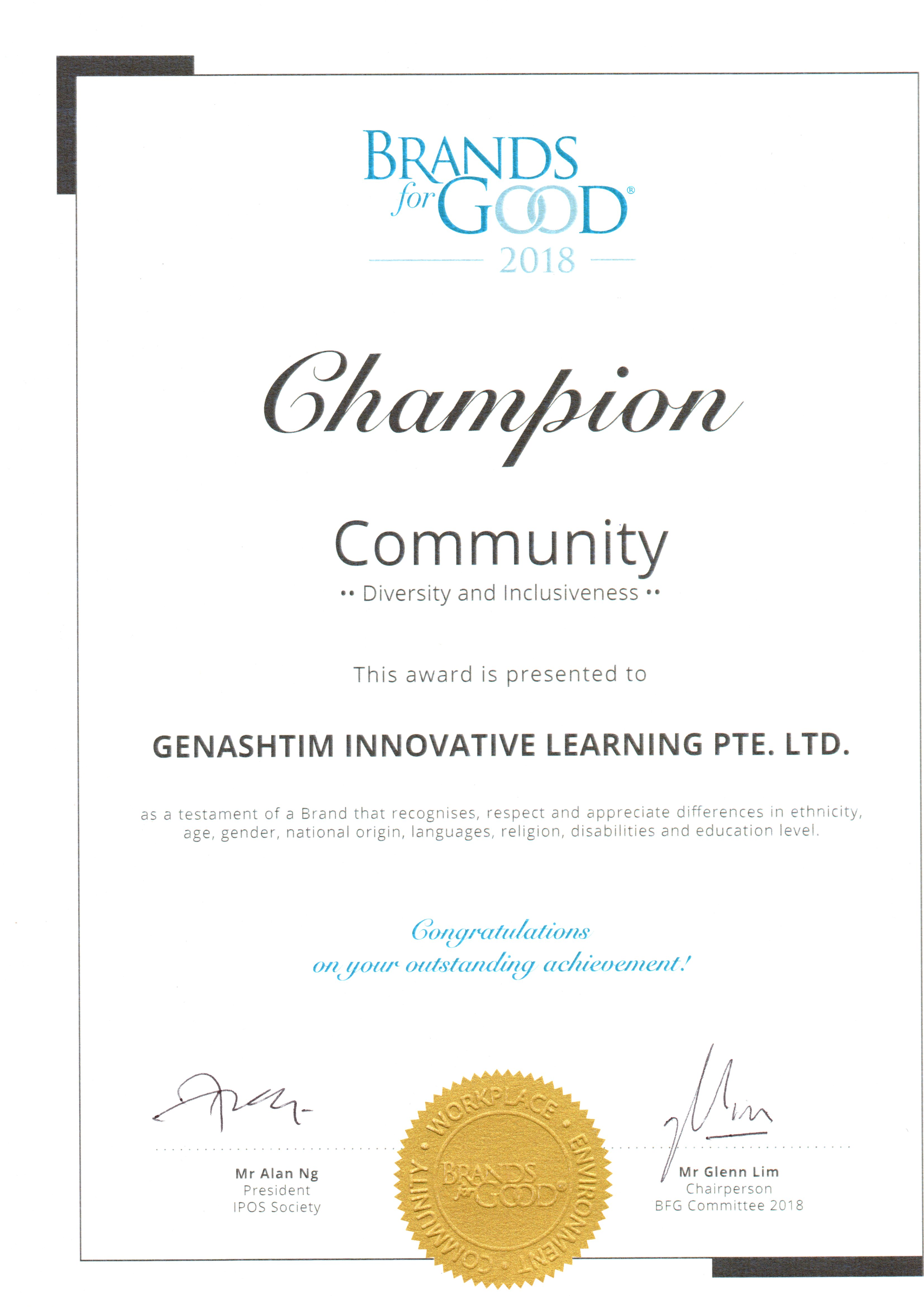 Certificate: Champion - Diversity and Inclusiveness